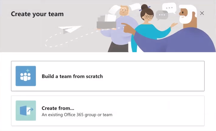 Microsoft Teams Create Team from Scratch or Office 365 Group Buttons