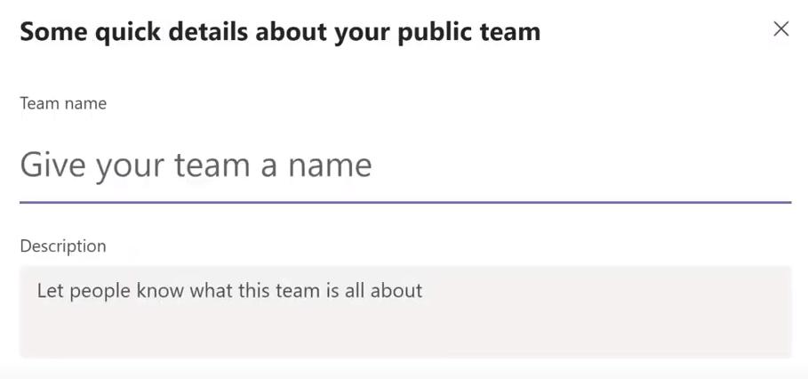 Microsoft Teams Team Name and Description