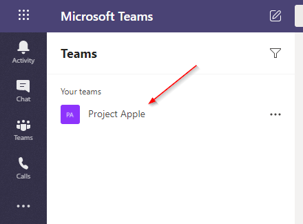 Microsoft Teams Team in Teams Tab