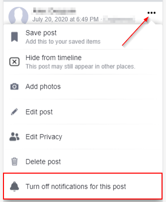 Disable Notifications for Facebook Post Mobile