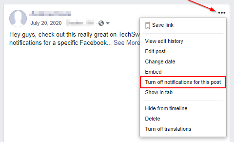 Facebook Disable Post Notifications on Desktop