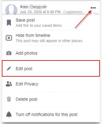 Facebook Mobile Edit Post