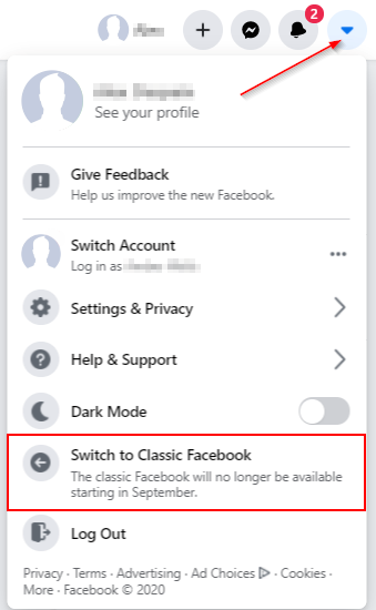 Facebook Switch to Classic Facebook