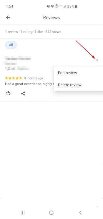 Google Maps Mobile App Edit or Delete Review