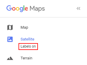 Google Maps Remove Labels in Satellite View
