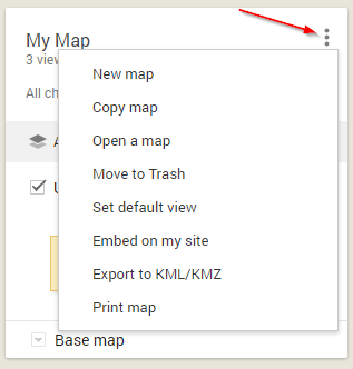 Google My Maps Share Options