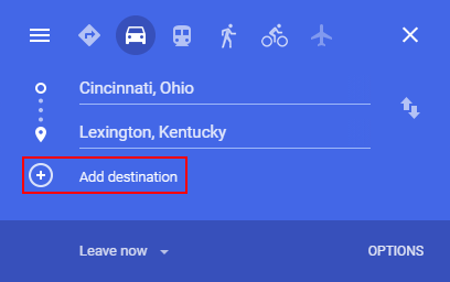 Google Maps Add Destination Button