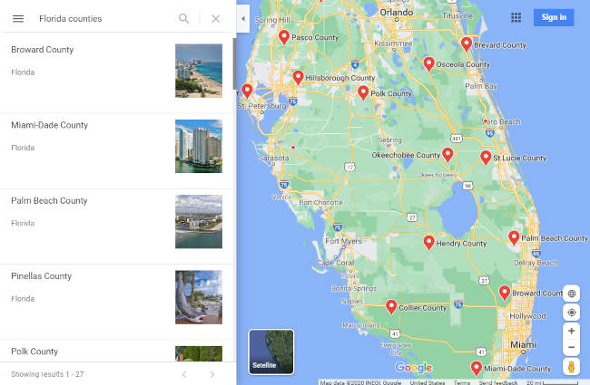Google Maps All Counties in Florida