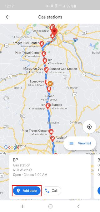 Google Maps All Stops Along Route Add Stop Button
