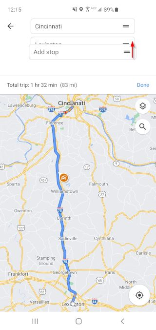 Google Maps Mobile App Drag New Stop to Middle of Route