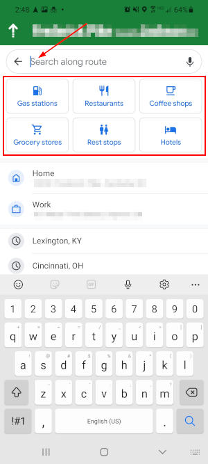 Google Maps Mobile App Search Bar and Quick Search Icons on Search Along Route Screen