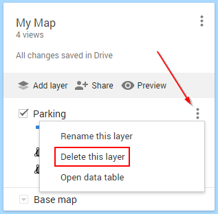 Google My Maps Delete Layer