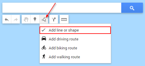 Google My Maps Draw a Shape or Line Button