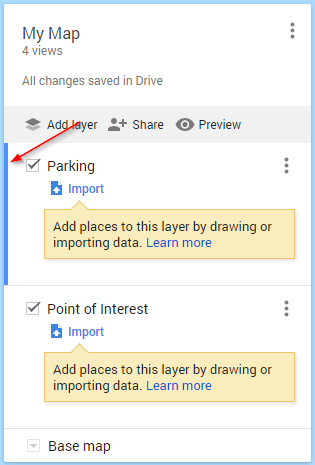 Google My Maps Layer Selected