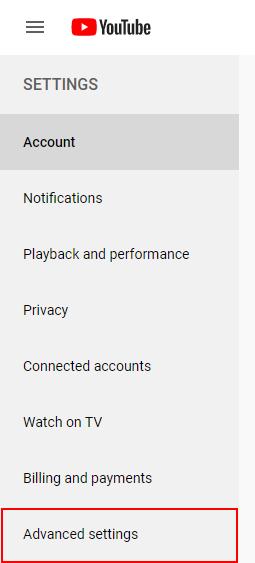 YouTube Advanced Settings in Menu