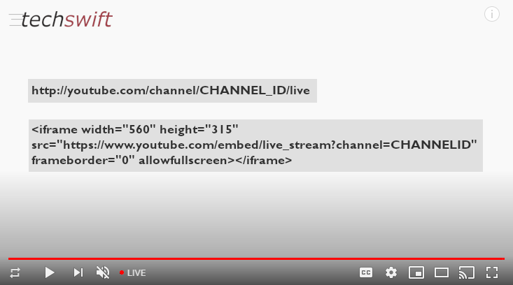 YouTube Permanent Link TechSwift Livestream