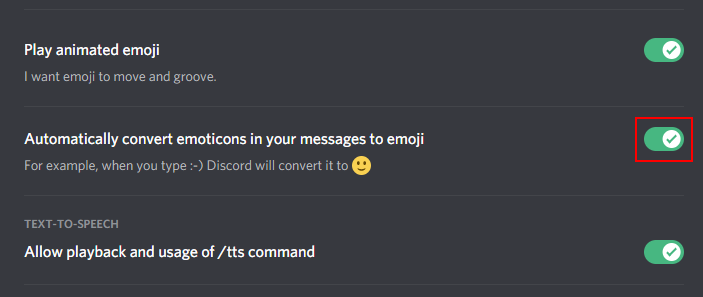 Discord Disable Automatic Emojis Setting in Text and Images
