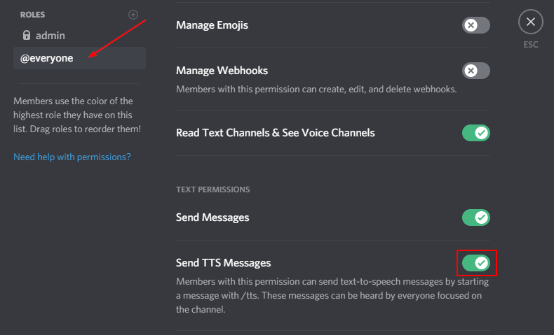 Discord Disable TTS for Everyone in Server
