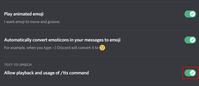 Discord Disable TTS in Settings