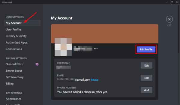Discord Edit Profile Button in My Account Settings