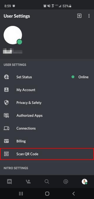 Discord Mobile App Scan QR Code