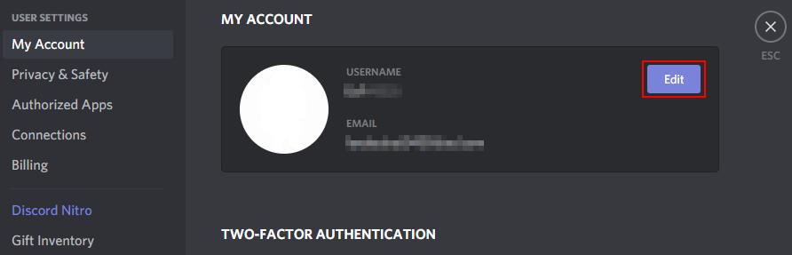 Discord My Account Edit Button