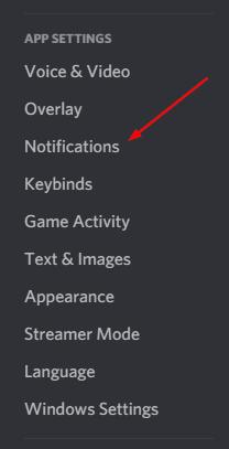 Discord Notifications in Setting Menu