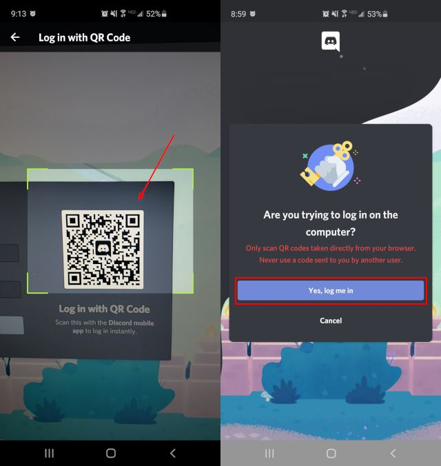 Discord Scan QR Code and Login Button