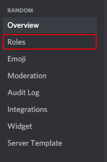 Discord Server Roles in Server Settings