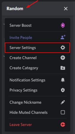 Discord Server Settings in Menu
