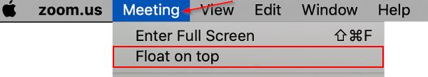 Apple Mac Enable Always on Top / Float on Top for Zoom