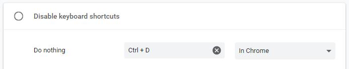 Chrome Ctrl D Shortcut Disabled