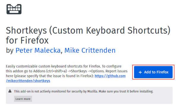 Firefox Shortkeys Extension Add to Firefox Button