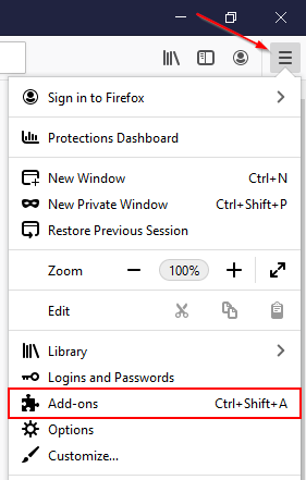 Firefox Add-ons Option in Settings Menu