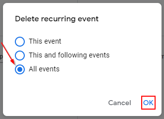 Google Calendar Delete All Recurring Events in the Series