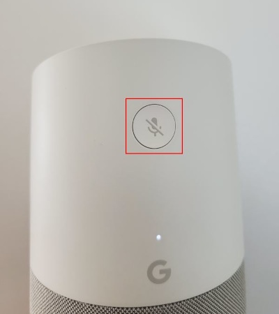 Google Home Microphone & Factory Reset Button on Back of Device