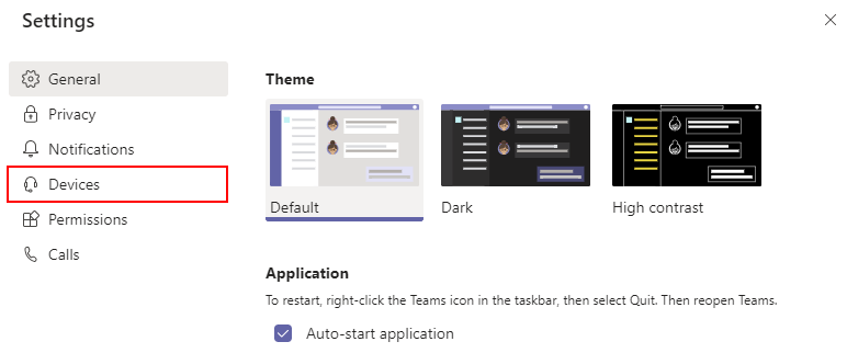 Microsoft Teams Devices in Settings