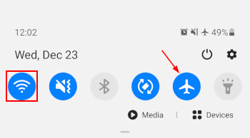 Samsung Galaxy S10 With Airplane Mode and Wifi Manually Enabled