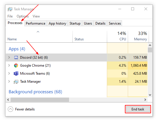 Discord End Task in Task Manager