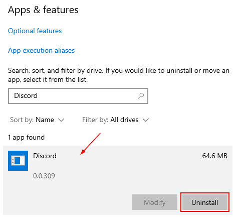Discord in Add or Remove Programs Windows 10