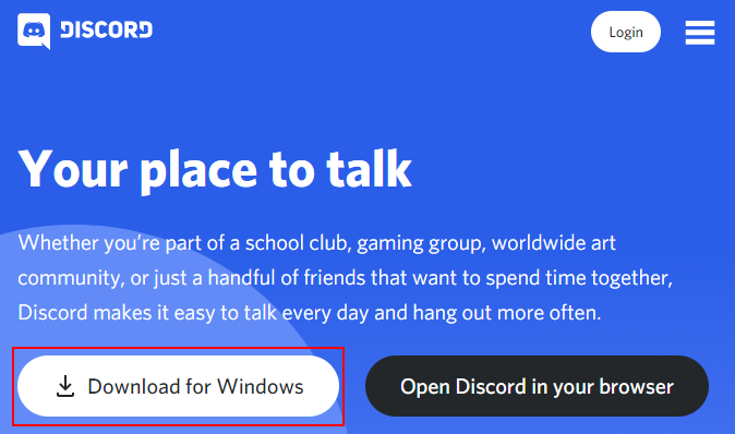 Download for Windows Button on Discord Website