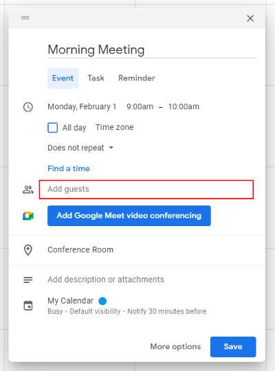 Google Calendar Create New Event Add Guests Field