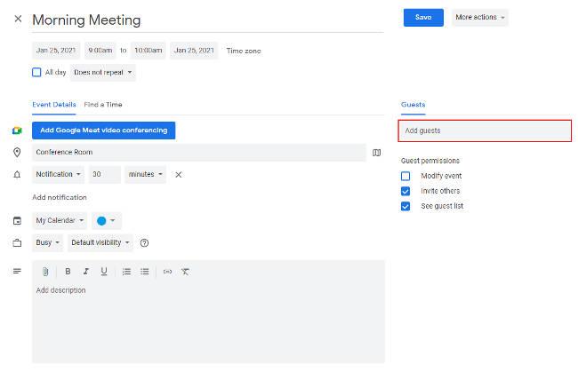 Google Calendar Edit Existing Event Add Guests Field
