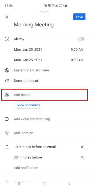 Google Calendar Mobile App Add People Field