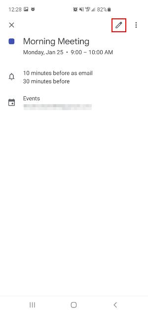 Google Calendar Mobile App Edit Existing Event Icon