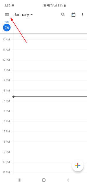 Google Calendar Mobile App Hamburger Menu Icon
