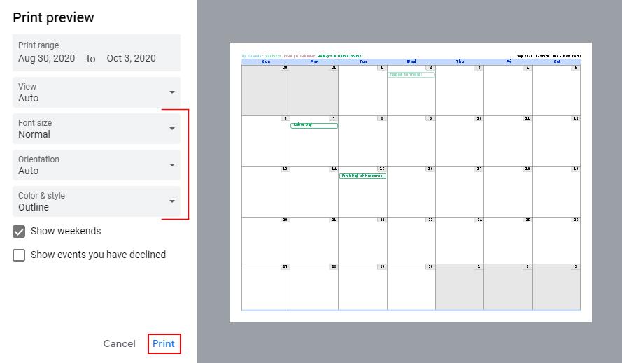 Google Calendar Print Preview Window