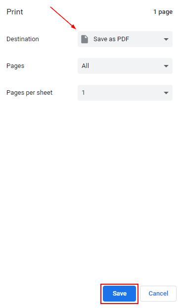 Google Chrome Print Preview Save as PDF