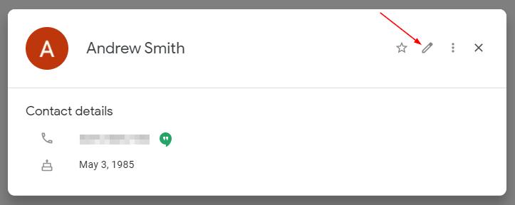 Google Contacts Edit Contact Pencil Icon