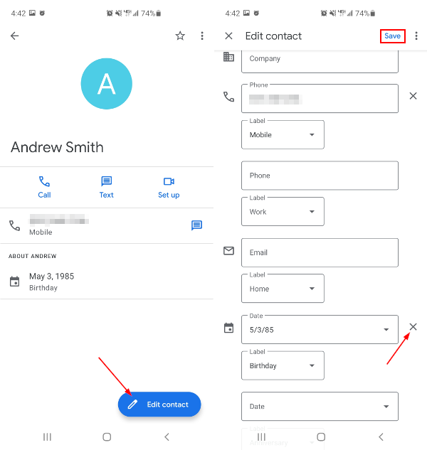 Google Contacts Edit Contact to Remove Birthday